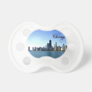 Chicago Skyline Photo Across from Lake Michigan Baby Pacifiers