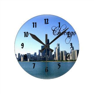 Chicago Skyline Photo Across from Lake Michigan Round Wall Clocks
