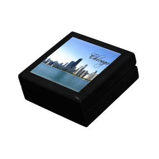 Chicago Skyline Photo Across from Lake Michigan Small Square Gift Box