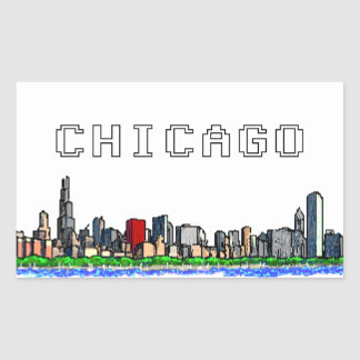 Chicago Skyline Pixel Art Stickers