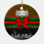 Chicago Skyline Red Green Damask #2 Bow Xmas Christmas Ornaments