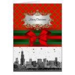 Chicago Skyline Red Green Quatrefoil Xmas Greeting Card