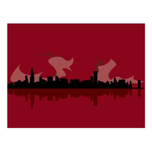 Chicago Skyline (red) Post Card