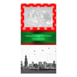 Chicago Skyline Red Snowflake Christmas Personalised Photo Card