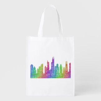 Chicago skyline reusable grocery bag