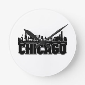 Chicago Skyline Round Clock