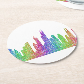 Chicago skyline round paper coaster