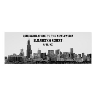 Chicago Skyline Silhouette Wedding Party Banner Posters