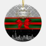Chicago Skyline Silver White Damask #3 Bow Xmas Christmas Tree Ornaments