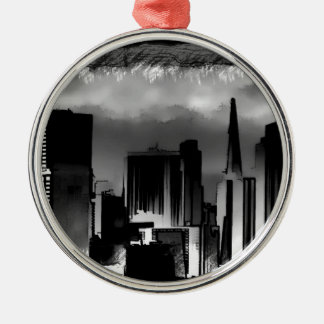 Chicago Skyline Sketch in Black and White Christmas Ornament