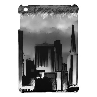 Chicago Skyline Sketch in Black and White Cover For The iPad Mini