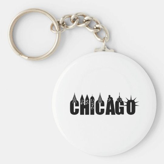 Chicago Skyline Skyscraper City Pride Basic Round Button Key Ring