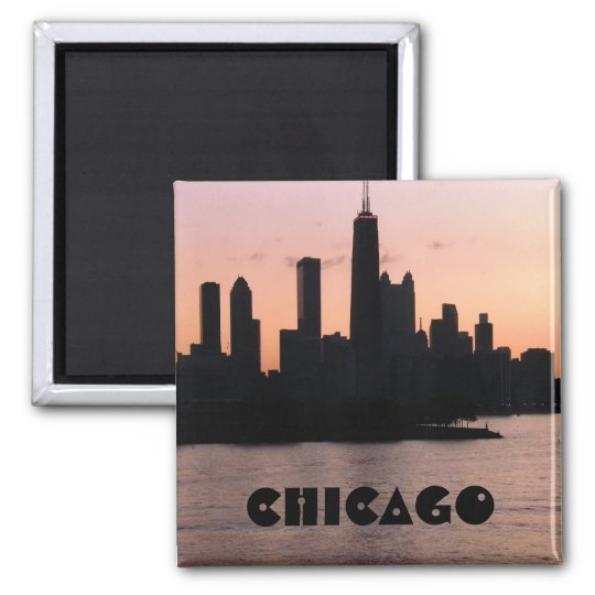 Chicago skyline square magnet