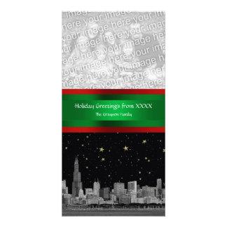 Chicago Skyline Starry Night Xmas Photocard Photo Card Template