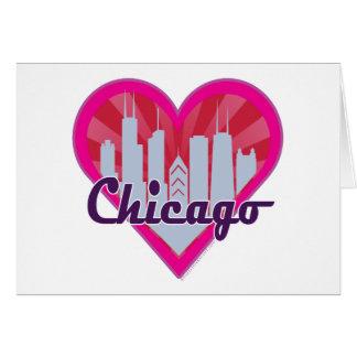 Chicago Skyline Sunburst Heart Greeting Cards