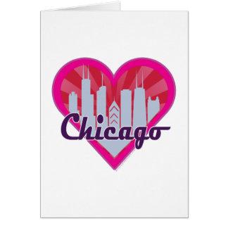 Chicago Skyline Sunburst Heart Cards