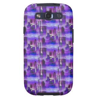Chicago Skyline Urban Art in Purple and Blue Galaxy S3 Case