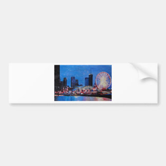 Chicago Skyline with Ferris Wheel Bumper Sticker