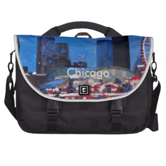 Chicago Skyline with Ferris Wheel Computer Bag