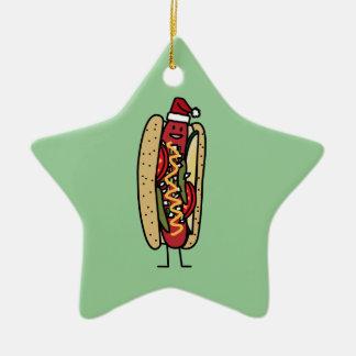 Chicago style hot dog Christmas Santa hat Christmas Ornament