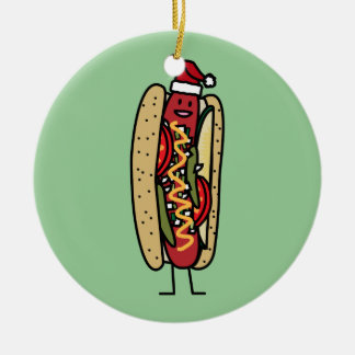 Chicago style hot dog Christmas Santa hat Christmas Ornament