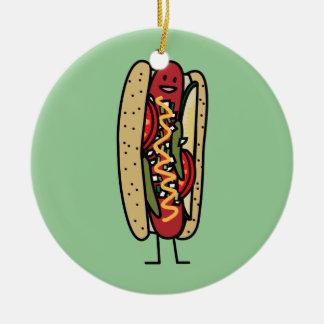 Chicago Style Hot Dog hot red poppy bun mustard Christmas Ornament