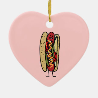 Chicago Style Hot Dog hot red poppy bun mustard Christmas Ornament