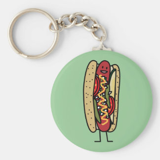 Chicago Style Hot Dog hot red poppy bun mustard Key Ring