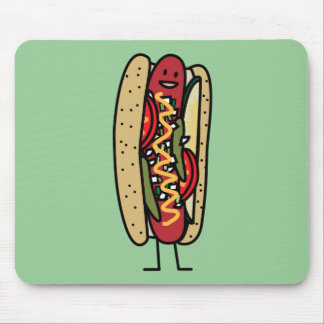 Chicago Style Hot Dog hot red poppy bun mustard Mouse Mat