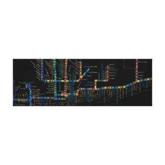 Chicago Subway Map w/ Train stops COLOR TIE DYE Canvas Print