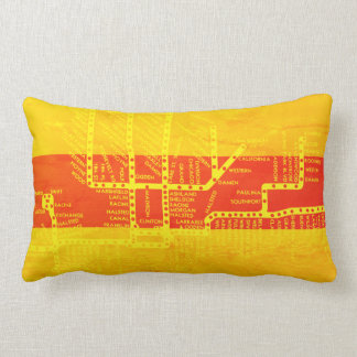 Chicago Subway Map w/ Train stops Southwest Color Lumbar Cushion