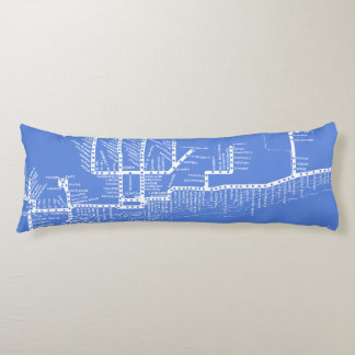 Chicago Subway Map w/ Train stops vintage Body Cushion