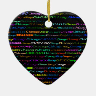 Chicago Text Design I Heart Ornament