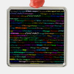 Chicago Text Design I Premium Square Ornament