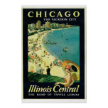 """""""Chicago - The Vacation City"""" Vintage Print"""