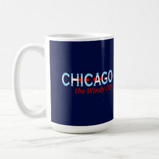 Chicago the Windy City, Chicago Flag Design Basic White Mug