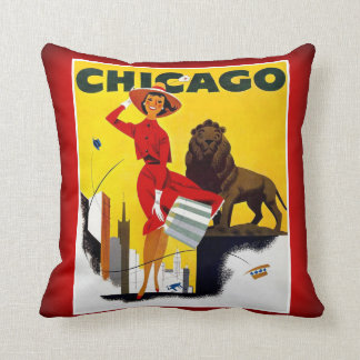 Chicago The Windy City USA Vintage Tourism Cushion