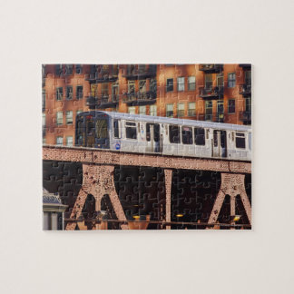 Chicago Train at Riverbend Jigsaw Puzzle