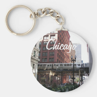 Chicago Travel Photo Basic Round Button Key Ring