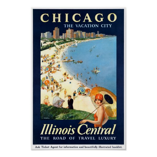 Chicago Vacation City Vintage Poster Restored