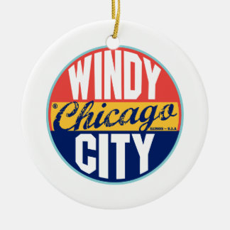 Chicago Vintage Label Christmas Ornament
