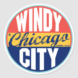 Chicago Vintage Label Round Sticker