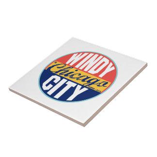 Chicago Vintage Label Small Square Tile