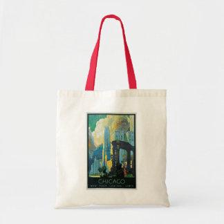 """""""Chicago"""" Vintage Travel Poster Budget Tote Bag"""
