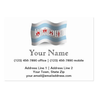 Chicago Waving Flag Large Business Cards (Pack Of 100)