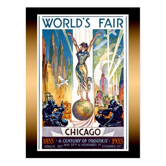 Chicago World's Fair 1933 - Vintage Retro Art Deco Postcard