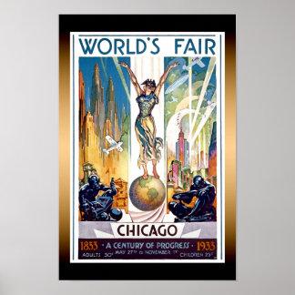 Chicago World's Fair 1933 - Vintage Retro Art Deco Poster