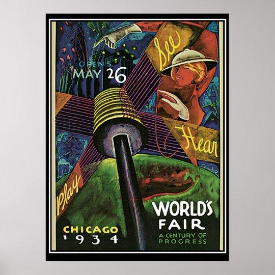Chicago Worlds Fair 1934 Vintage Print