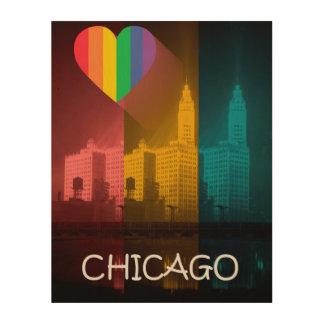 Chicago Wrigley Building 1930's Rainbow Gay Pride Wood Wall Art