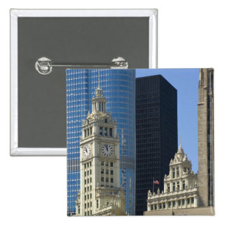 Chicago, Wrigley Building with Trump Hotel & 15 Cm Square Badge